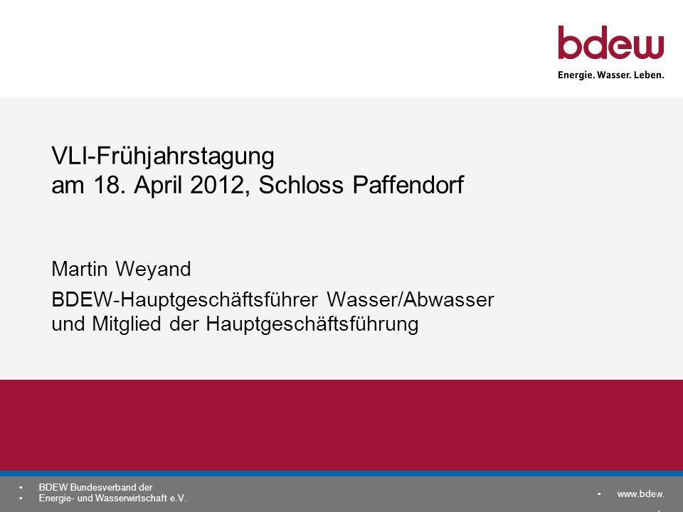 www.bdew. de BDEW Bundesverband der Energie- und Wasserwirtschaft e.V. 1 VLI-Frühjahrstagung am 18. April 2012, Schloss Paffendorf Martin Weyand BDEW-