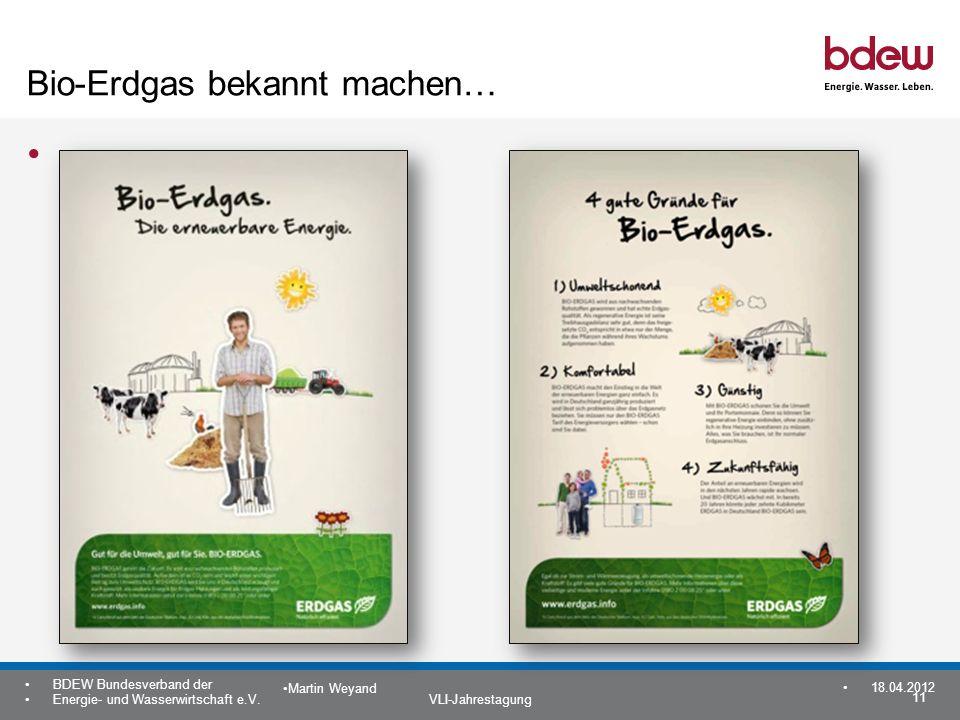 11 BDEW Bundesverband der Energie- und Wasserwirtschaft e.V. VLI-Jahrestagung Martin Weyand 18.04.2012 Bio-Erdgas bekannt machen… 11