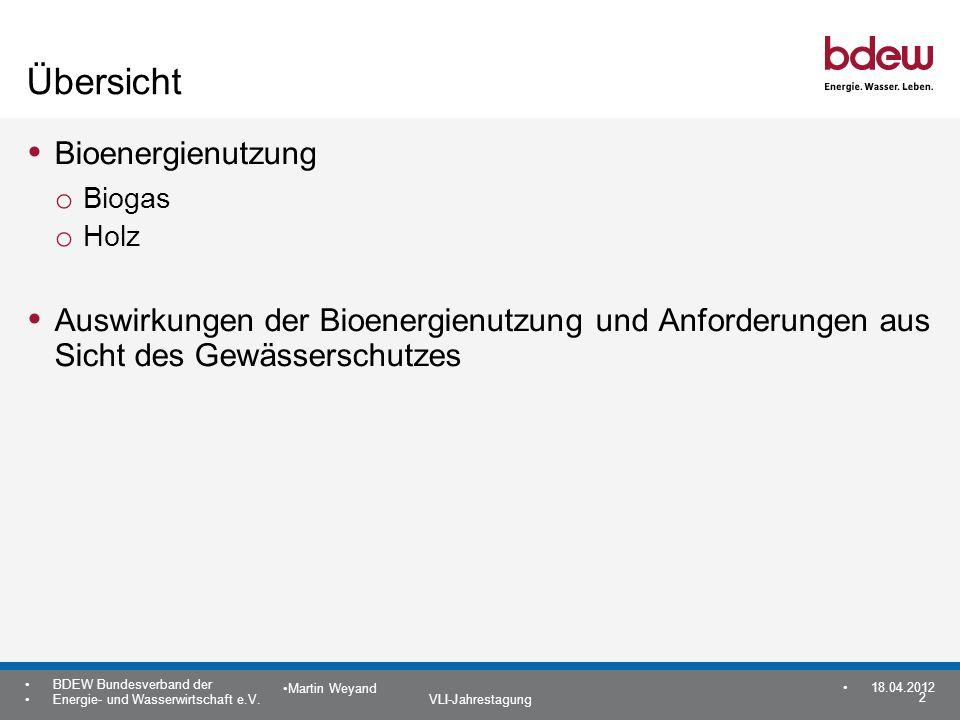 2 BDEW Bundesverband der Energie- und Wasserwirtschaft e.V. VLI-Jahrestagung Martin Weyand 18.04.2012 Übersicht Bioenergienutzung o Biogas o Holz Ausw