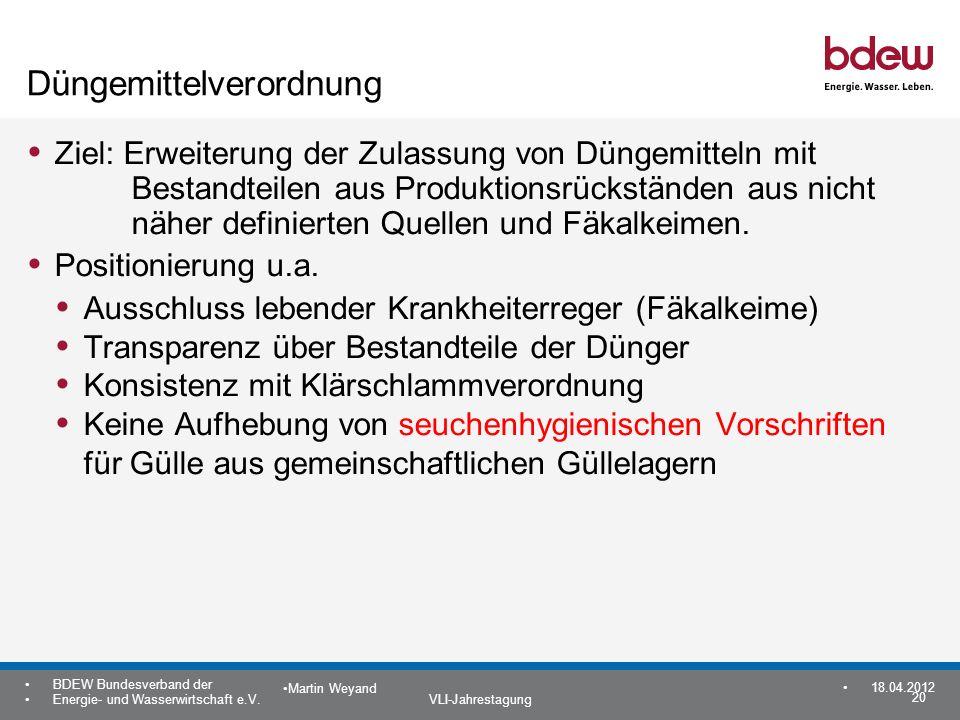 20 BDEW Bundesverband der Energie- und Wasserwirtschaft e.V. VLI-Jahrestagung Martin Weyand 18.04.2012 Düngemittelverordnung Ziel: Erweiterung der Zul