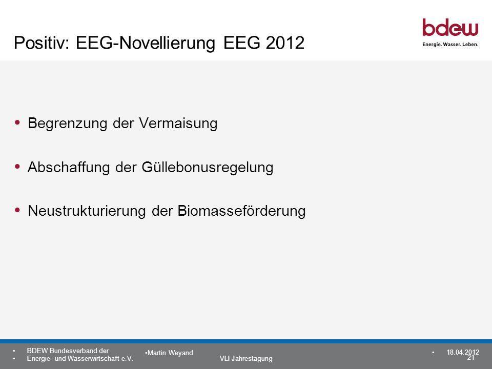 21 BDEW Bundesverband der Energie- und Wasserwirtschaft e.V. VLI-Jahrestagung Martin Weyand 18.04.2012 Positiv: EEG-Novellierung EEG 2012 Begrenzung d