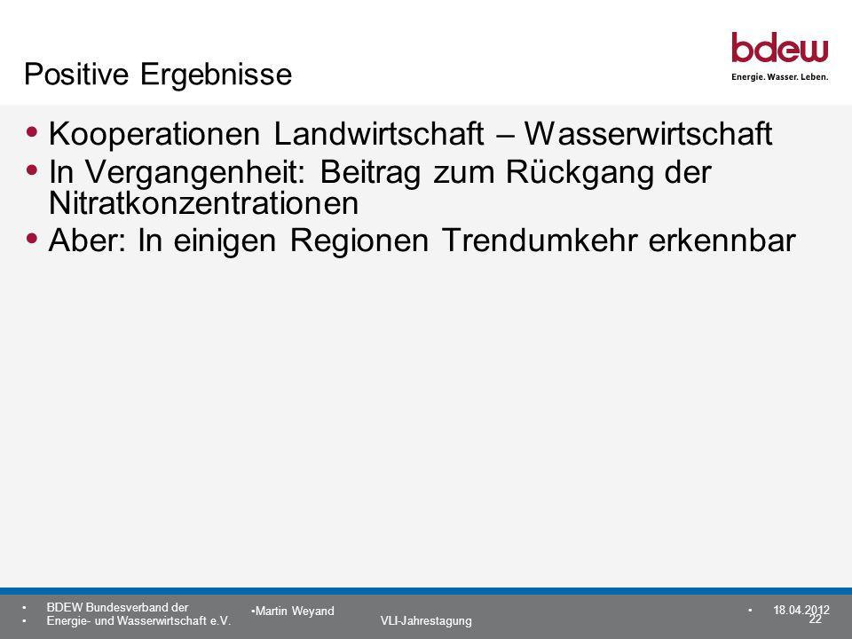 22 BDEW Bundesverband der Energie- und Wasserwirtschaft e.V. VLI-Jahrestagung Martin Weyand 18.04.2012 Positive Ergebnisse Kooperationen Landwirtschaf