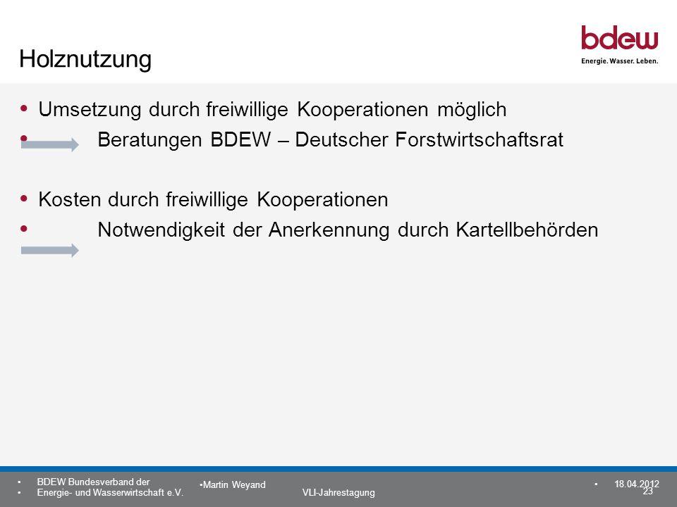23 BDEW Bundesverband der Energie- und Wasserwirtschaft e.V. VLI-Jahrestagung Martin Weyand 18.04.2012 Holznutzung Umsetzung durch freiwillige Koopera