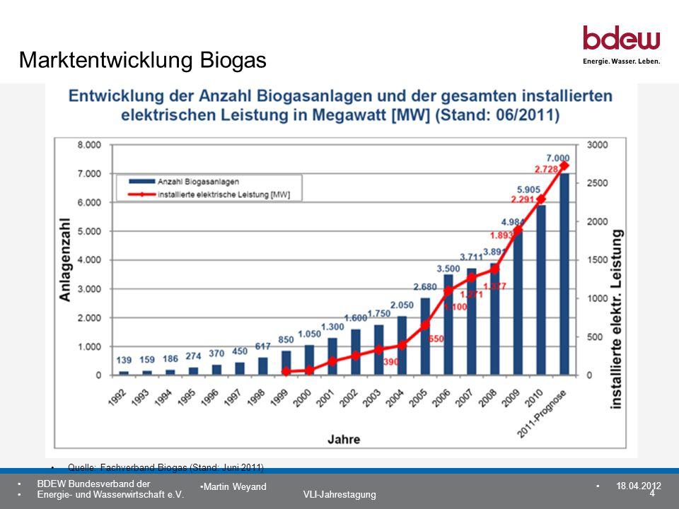 4 BDEW Bundesverband der Energie- und Wasserwirtschaft e.V. VLI-Jahrestagung Martin Weyand 18.04.2012 Marktentwicklung Biogas Quelle: Fachverband Biog
