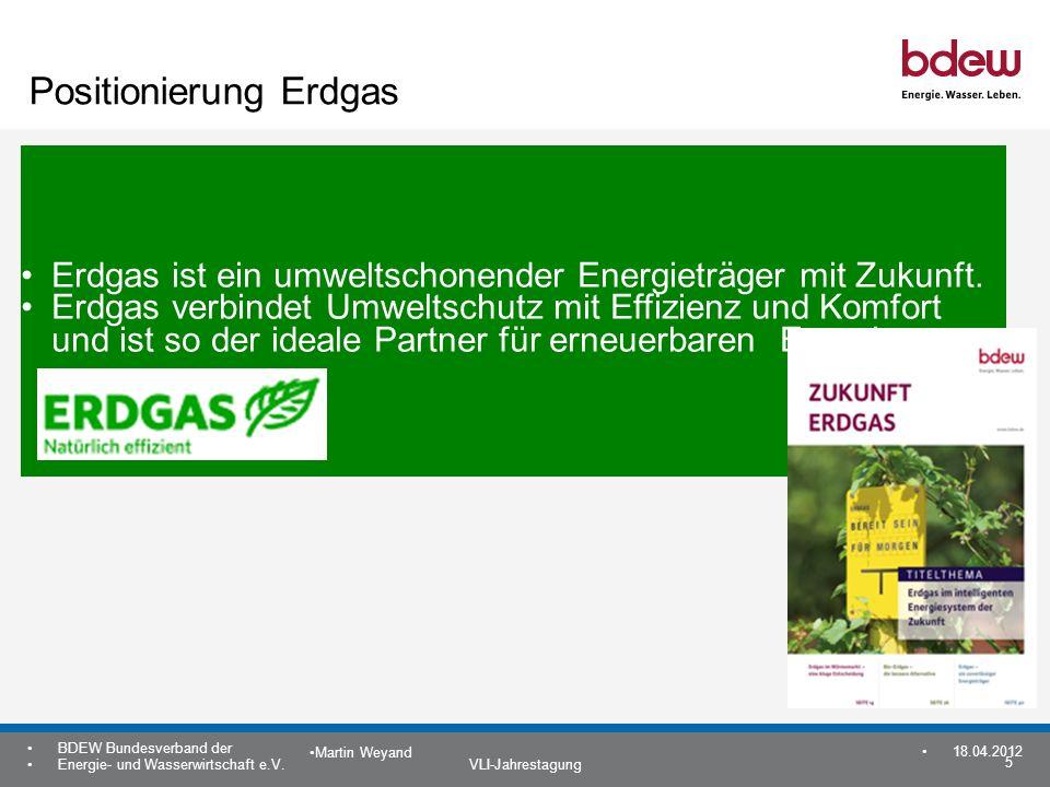 5 BDEW Bundesverband der Energie- und Wasserwirtschaft e.V. VLI-Jahrestagung Martin Weyand 18.04.2012 Positionierung Erdgas Erdgas ist ein umweltschon