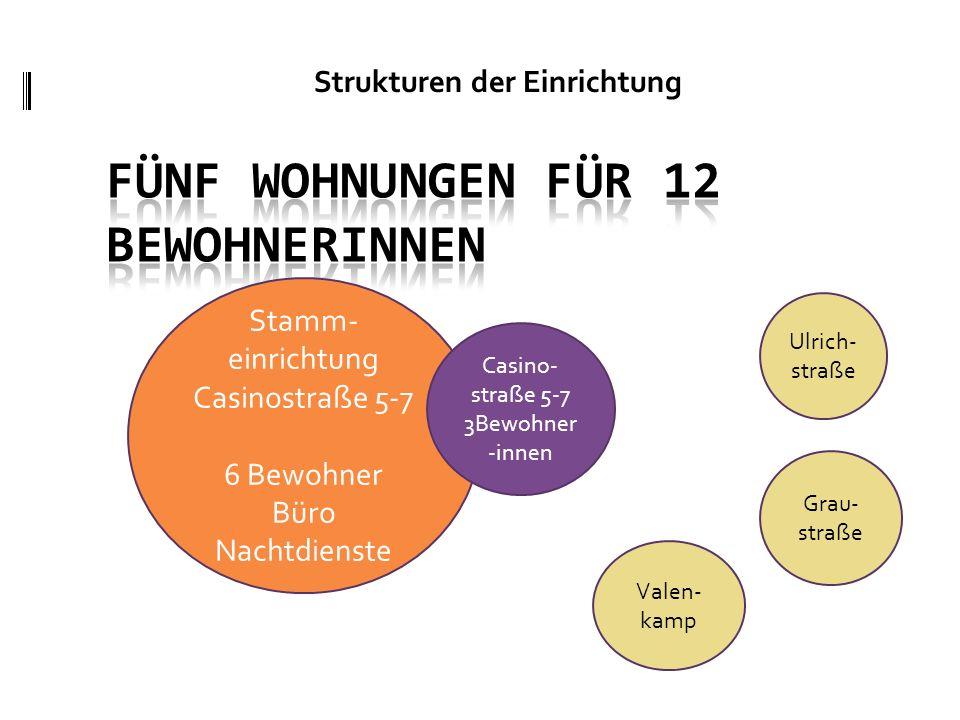 Strukturen der Einrichtung 16 - 25 Stamm- einrichtung Casinostraße 5-7 6 Bewohner Büro Nachtdienste Casino- straße 5-7 3Bewohner -innen Ulrich- straße Valen- kamp Grau- straße