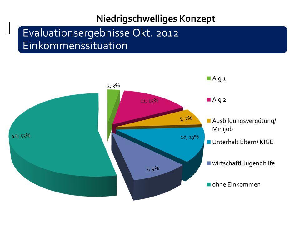 Niedrigschwelliges Konzept 16 - 25 Evaluationsergebnisse Okt. 2012 Einkommenssituation