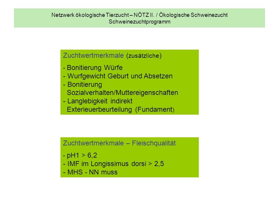 Netzwerk ökologische Tierzucht – NÖTZ II. / Ökologische Schweinezucht Schweinezuchtprogramm Zuchtwertmerkmale ( zusätzliche ) - Bonitierung Würfe - Wu