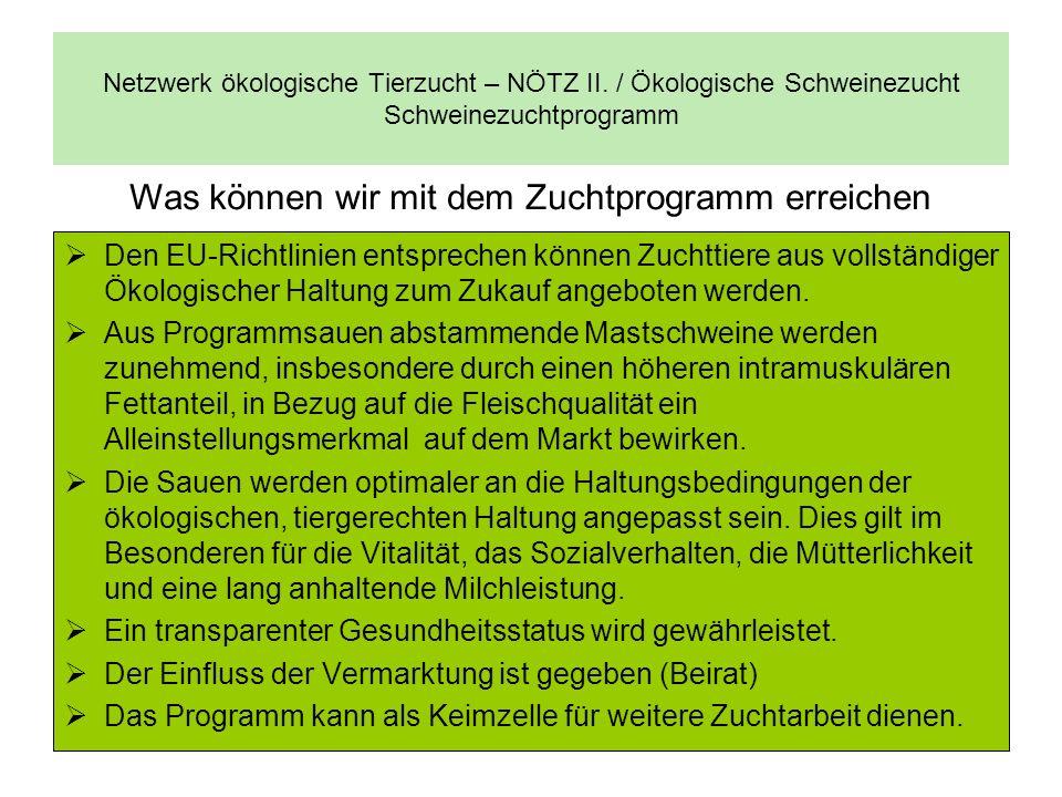 Netzwerk ökologische Tierzucht – NÖTZ II. / Ökologische Schweinezucht Schweinezuchtprogramm Den EU-Richtlinien entsprechen können Zuchttiere aus volls