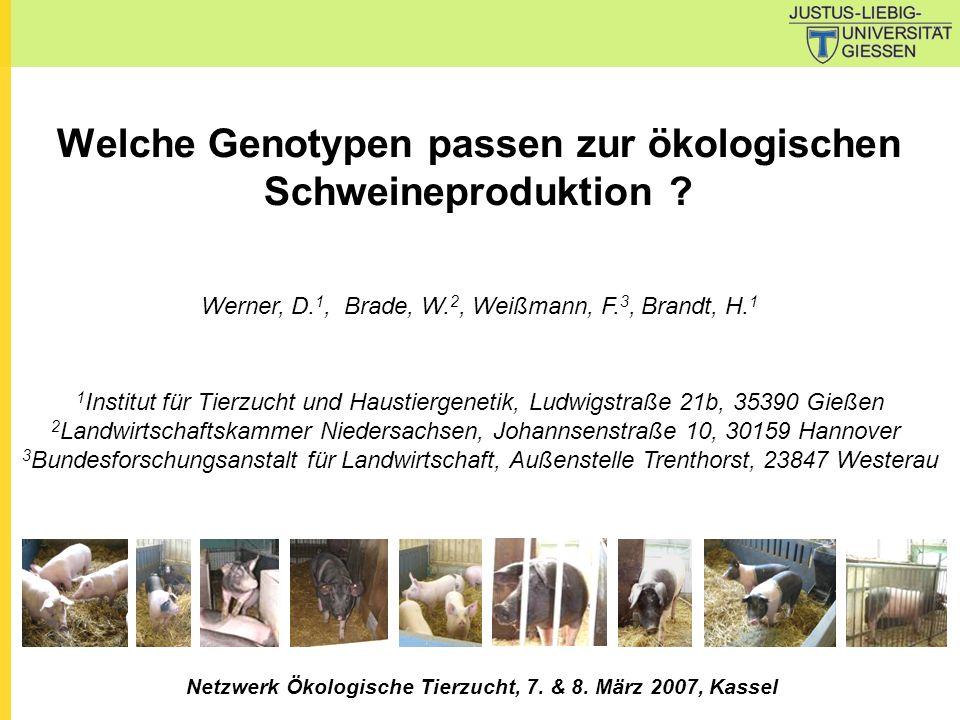 Welche Genotypen passen zur ökologischen Schweineproduktion ? Werner, D. 1, Brade, W. 2, Weißmann, F. 3, Brandt, H. 1 1 Institut für Tierzucht und Hau