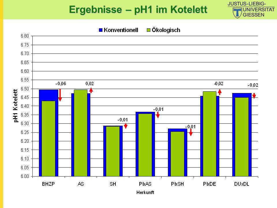 Ergebnisse – pH1 im Kotelett