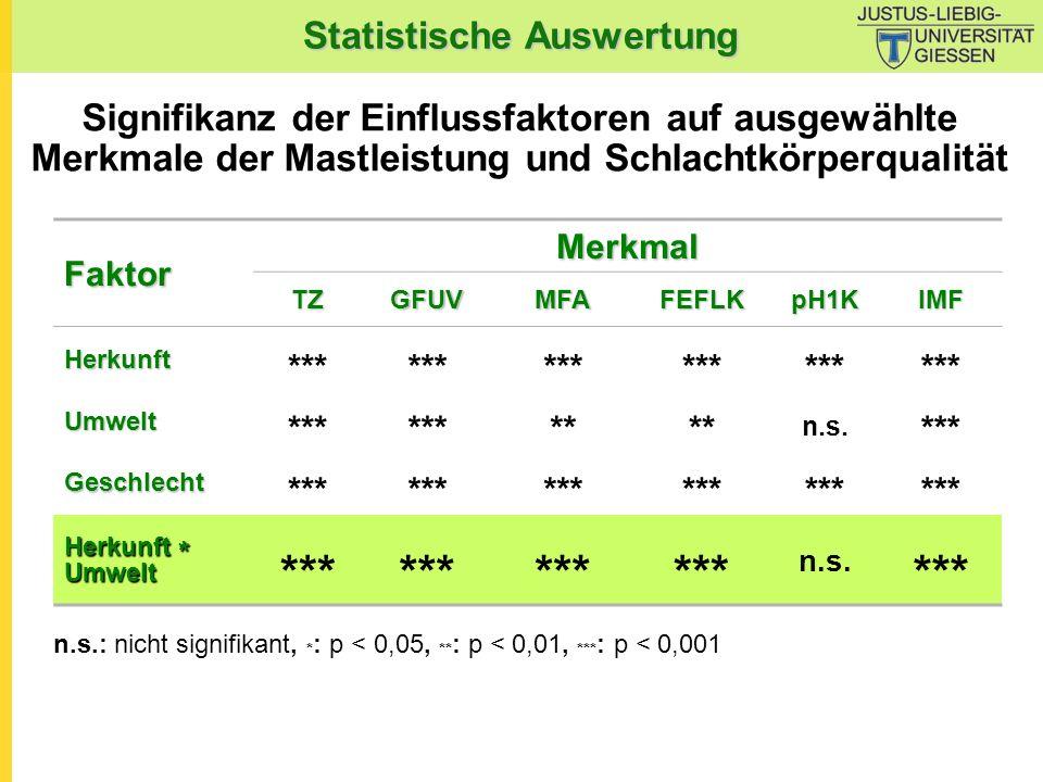 Statistische Auswertung Signifikanz der Einflussfaktoren auf ausgewählte Merkmale der Mastleistung und Schlachtkörperqualität n.s.: nicht signifikant,