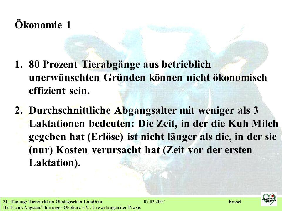 ZL-Tagung: Tierzucht im Ökologischen Landbau 07.03.2007 Kassel Dr. Frank Augsten/Thüringer Ökoherz e.V.: Erwartungen der Praxis Ökonomie 1 1.80 Prozen
