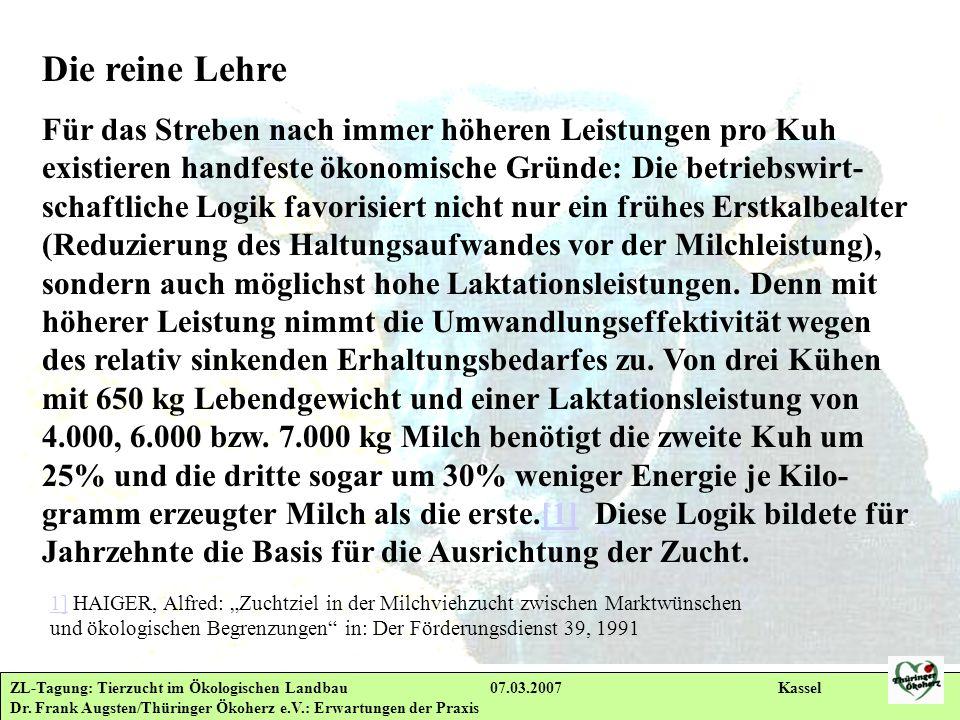 ZL-Tagung: Tierzucht im Ökologischen Landbau 07.03.2007 Kassel Dr. Frank Augsten/Thüringer Ökoherz e.V.: Erwartungen der Praxis Die reine Lehre Für da