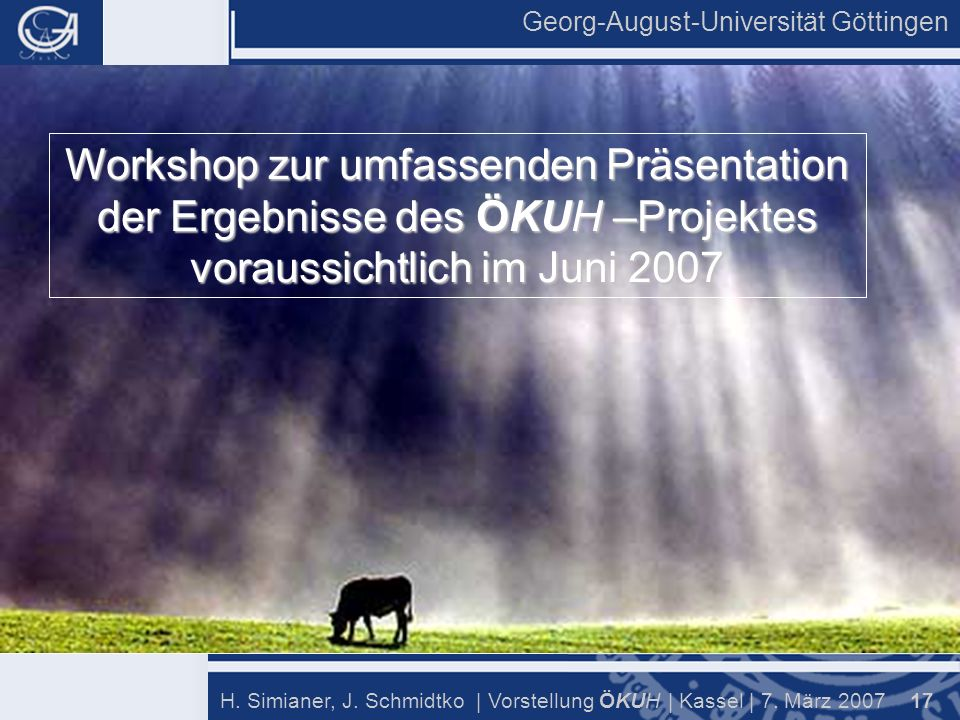 Georg-August-Universität Göttingen 17 H. Simianer, J.