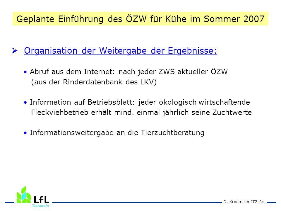 D. Krogmeier ITZ 3c Organisation der Weitergabe der Ergebnisse: Abruf aus dem Internet: nach jeder ZWS aktueller ÖZW (aus der Rinderdatenbank des LKV)