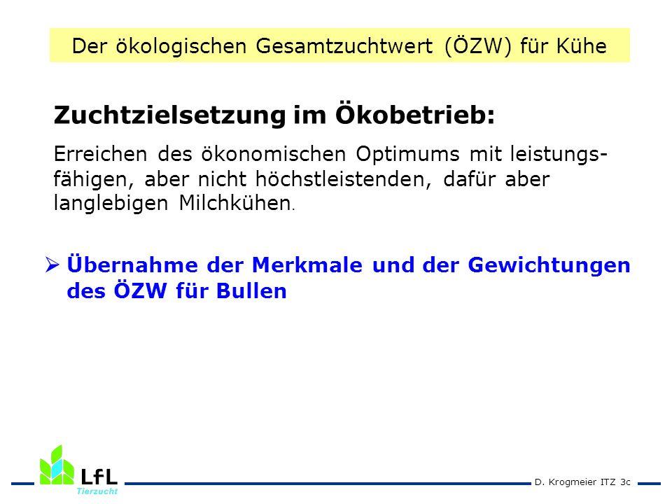 D. Krogmeier ITZ 3c Übernahme der Merkmale und der Gewichtungen des ÖZW für Bullen Zuchtzielsetzung im Ökobetrieb: Erreichen des ökonomischen Optimums