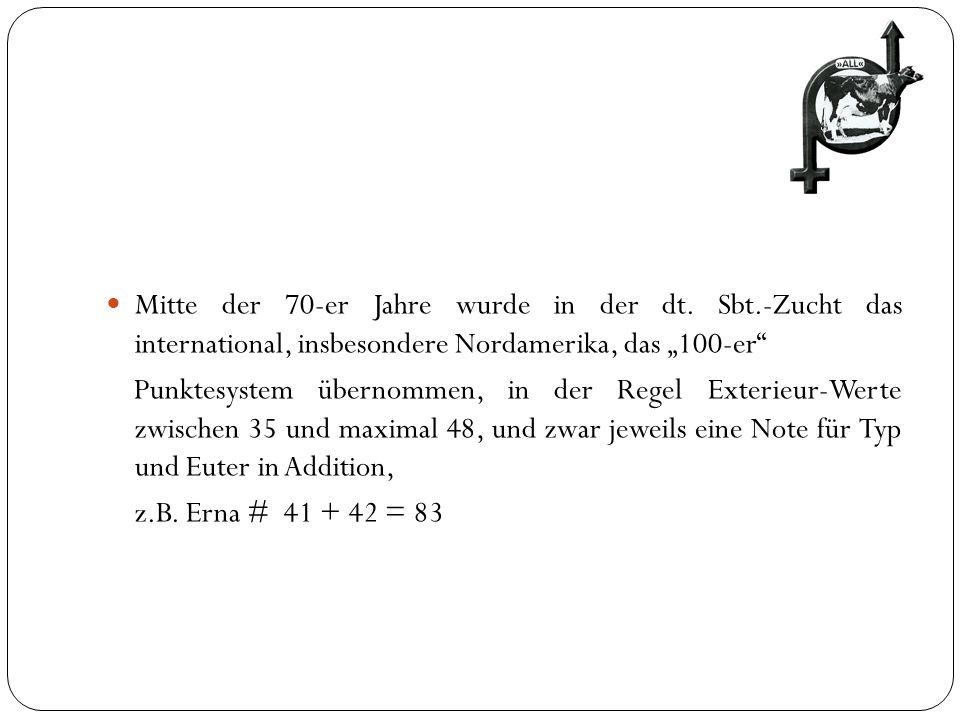 Mitte der 70-er Jahre wurde in der dt. Sbt.-Zucht das international, insbesondere Nordamerika, das 100-er Punktesystem übernommen, in der Regel Exteri