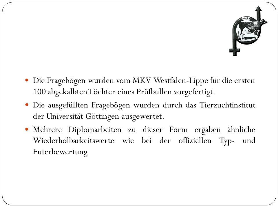 Die Fragebögen wurden vom MKV Westfalen-Lippe für die ersten 100 abgekalbten Töchter eines Prüfbullen vorgefertigt. Die ausgefüllten Fragebögen wurden
