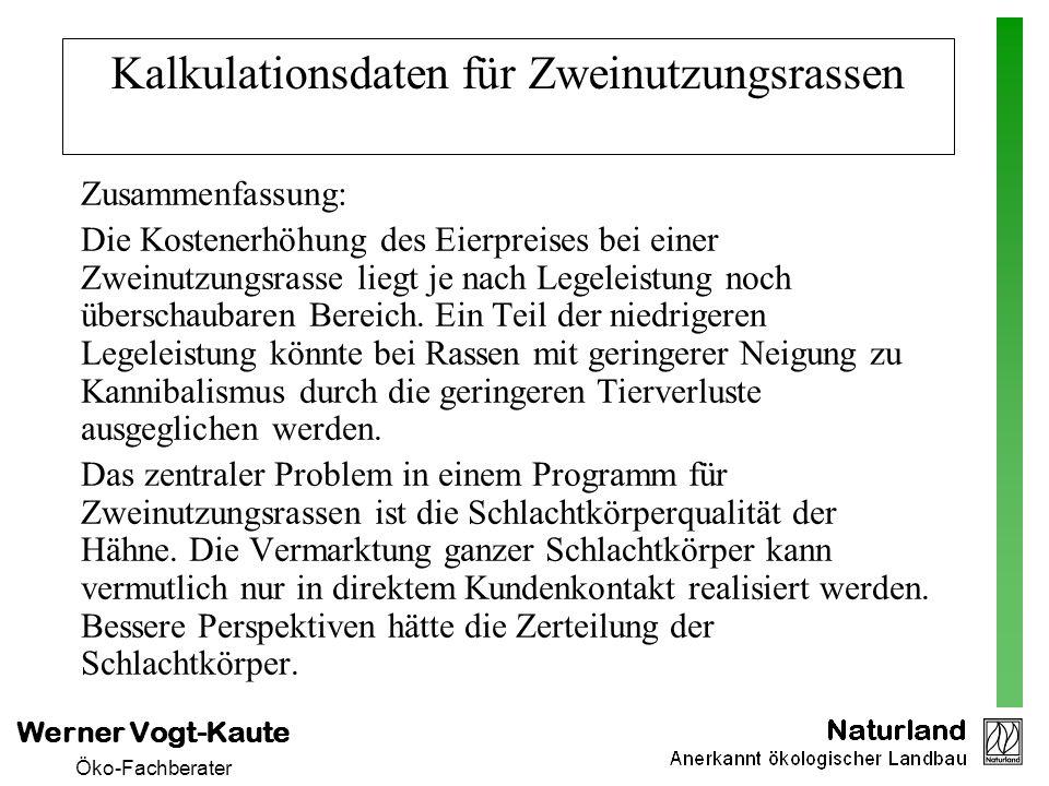 Werner Vogt-Kaute Öko-Fachberater Kalkulationsdaten für Zweinutzungsrassen Zusammenfassung: Die Kostenerhöhung des Eierpreises bei einer Zweinutzungsr