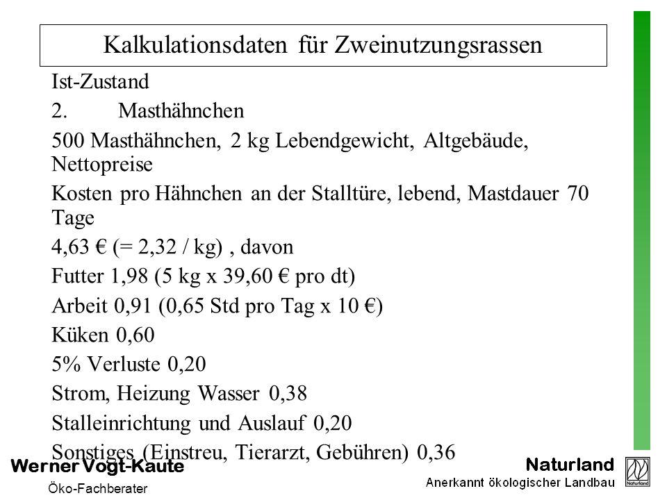 Werner Vogt-Kaute Öko-Fachberater Kalkulationsdaten für Zweinutzungsrassen Ist-Zustand 2. Masthähnchen 500 Masthähnchen, 2 kg Lebendgewicht, Altgebäud