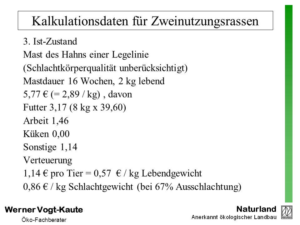 Werner Vogt-Kaute Öko-Fachberater Kalkulationsdaten für Zweinutzungsrassen 3. Ist-Zustand Mast des Hahns einer Legelinie (Schlachtkörperqualität unber