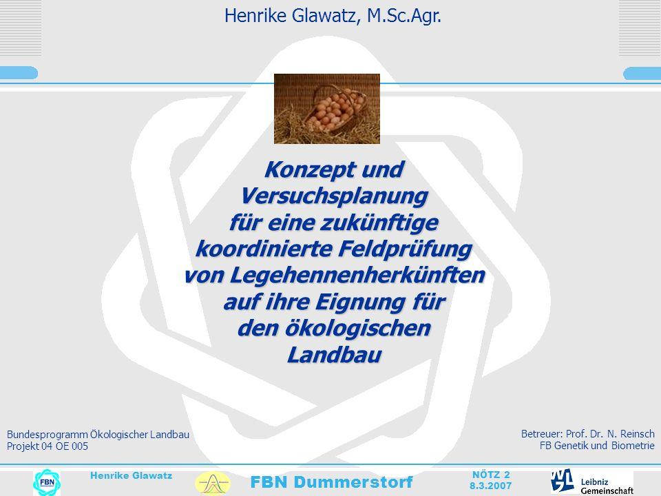 FBN Dummerstorf Henrike Glawatz NÖTZ 2 8.3.2007 Gliederung Situation Legehennenprüfwesen aktuell Ziele Projekt Feldprüfung Versuchsablauf Datenerhebung Auswertung