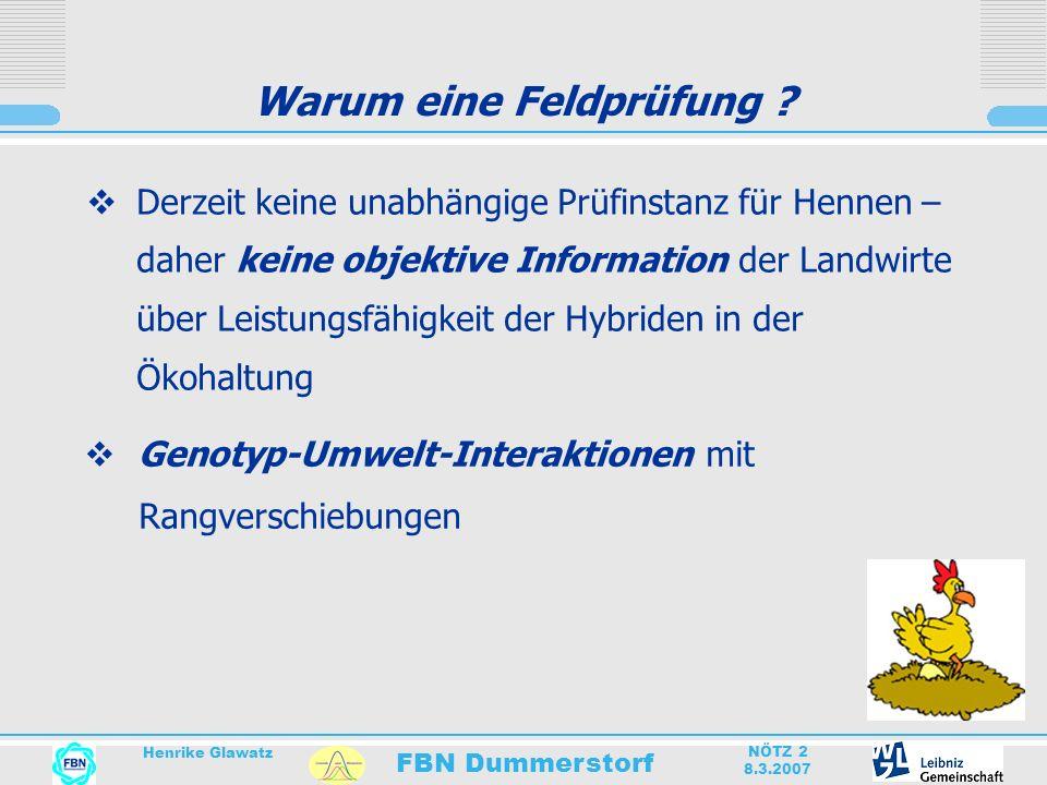 FBN Dummerstorf Henrike Glawatz NÖTZ 2 8.3.2007 Warum eine Feldprüfung ? Derzeit keine unabhängige Prüfinstanz für Hennen – daher keine objektive Info