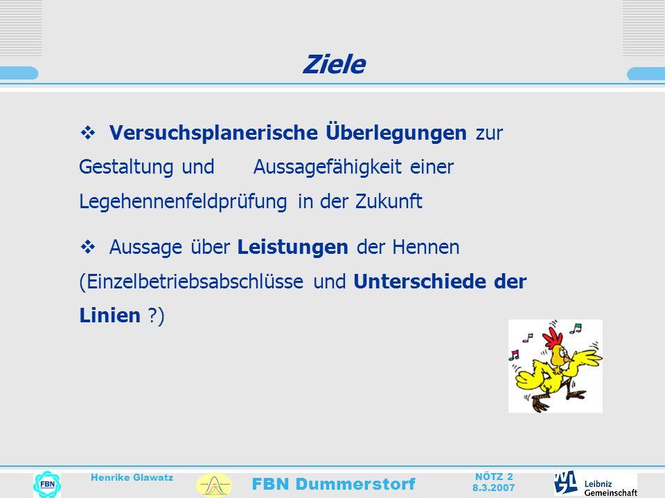 FBN Dummerstorf Henrike Glawatz NÖTZ 2 8.3.2007 Ziele Versuchsplanerische Überlegungen zur Gestaltung und Aussagefähigkeit einer Legehennenfeldprüfung