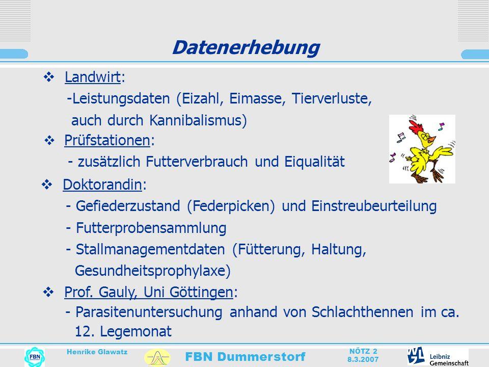 FBN Dummerstorf Henrike Glawatz NÖTZ 2 8.3.2007 Datenerhebung Doktorandin: - Gefiederzustand (Federpicken) und Einstreubeurteilung - Futterprobensamml