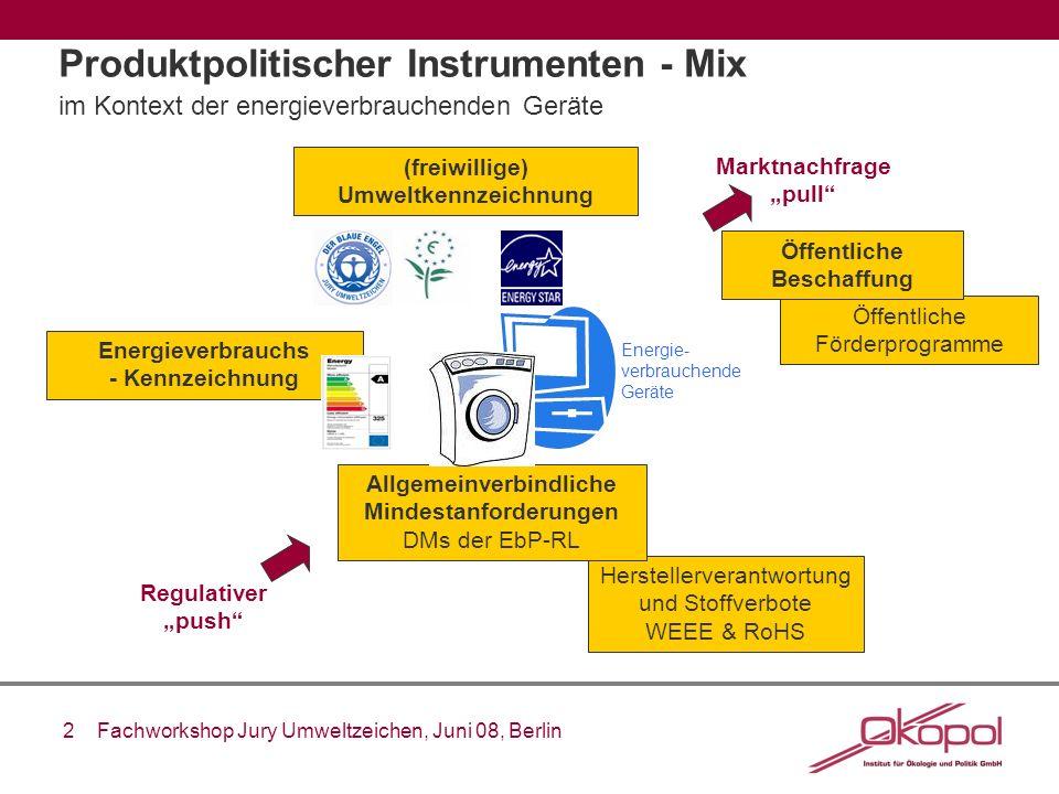 2 Fachworkshop Jury Umweltzeichen, Juni 08, Berlin Produktpolitischer Instrumenten - Mix im Kontext der energieverbrauchenden Geräte Herstellerverantw