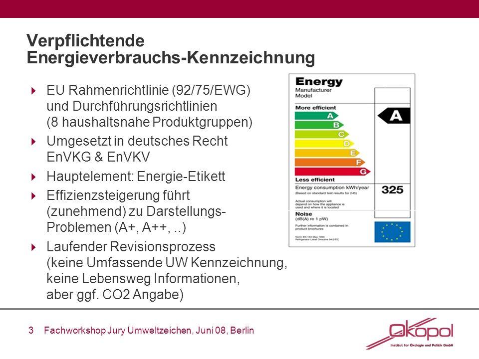 3 Fachworkshop Jury Umweltzeichen, Juni 08, Berlin Verpflichtende Energieverbrauchs-Kennzeichnung EU Rahmenrichtlinie (92/75/EWG) und Durchführungsric