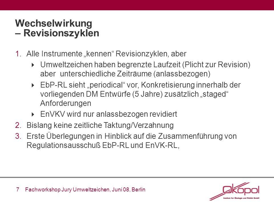 7 Fachworkshop Jury Umweltzeichen, Juni 08, Berlin Wechselwirkung – Revisionszyklen 1.Alle Instrumente kennen Revisionzyklen, aber Umweltzeichen haben