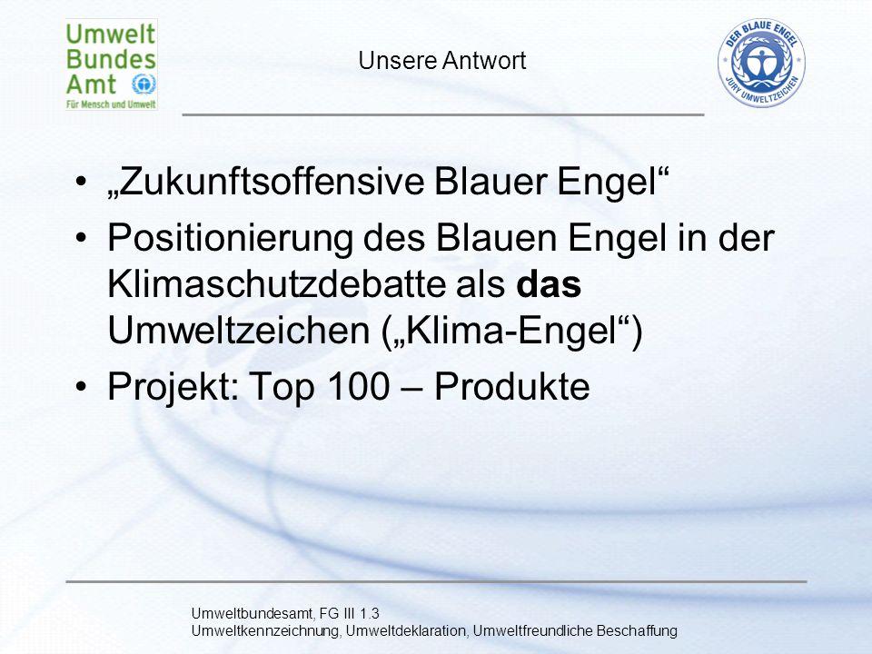 Umweltbundesamt, FG III 1.3 Umweltkennzeichnung, Umweltdeklaration, Umweltfreundliche Beschaffung Ziele des Projekts Entwicklung einer Produktstrategie für die Top 100 – Produkte, Reduzierung der Label-Vielfalt bzw.