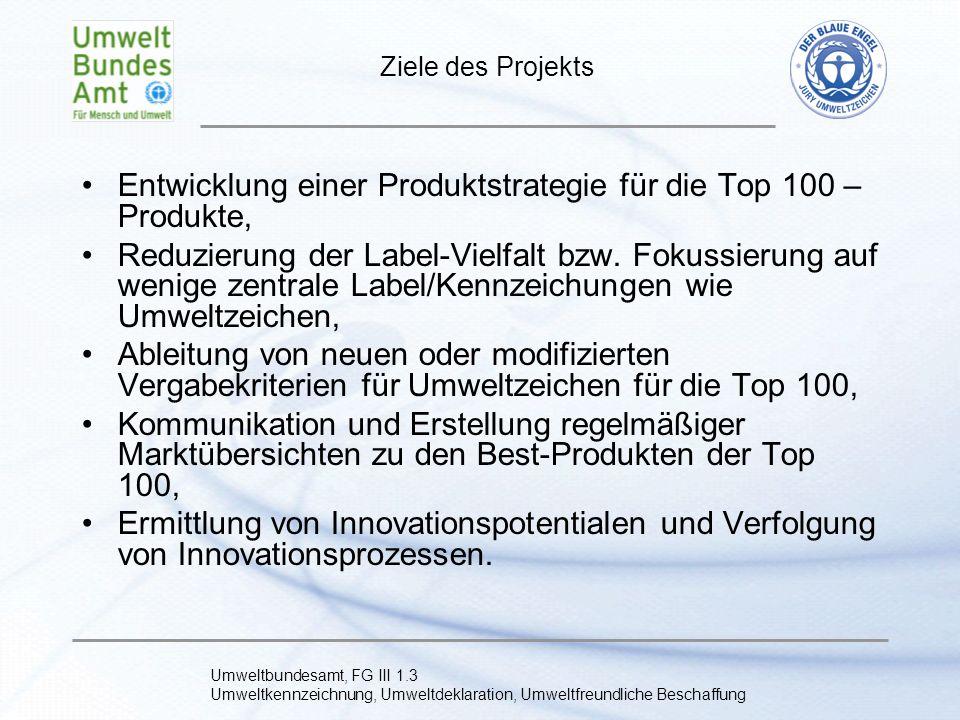 Umweltbundesamt, FG III 1.3 Umweltkennzeichnung, Umweltdeklaration, Umweltfreundliche Beschaffung Produktgruppen Energieverbrauchende Produkte mit existierenden (unterschiedlichen) Labeln (z.B.