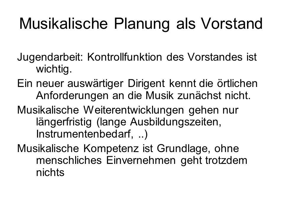 Musikalische Planung als Vorstand Jugendarbeit: Kontrollfunktion des Vorstandes ist wichtig.