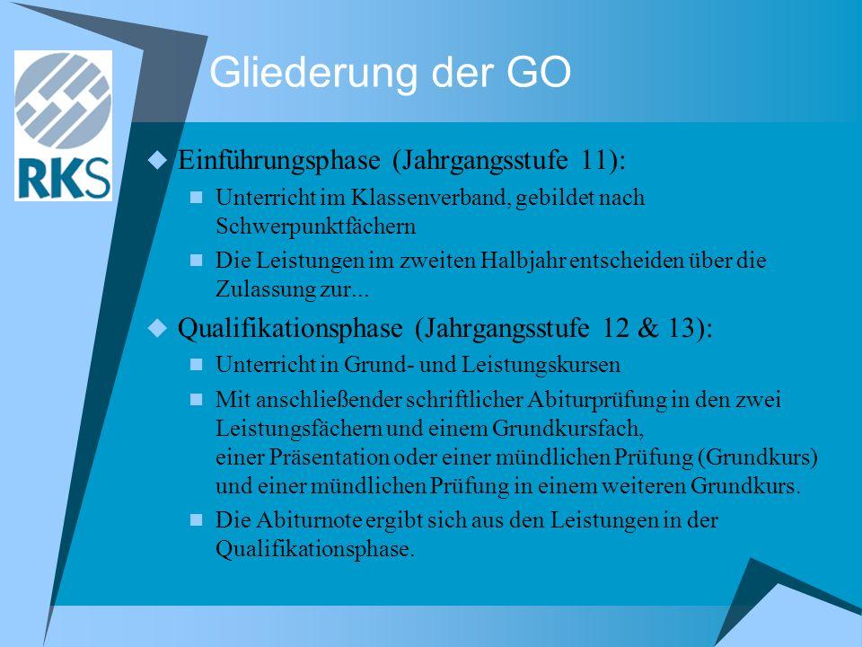 Gliederung der GO Einführungsphase (Jahrgangsstufe 11): Unterricht im Klassenverband, gebildet nach Schwerpunktfächern Die Leistungen im zweiten Halbj