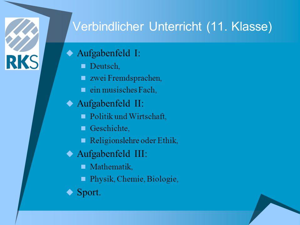 Verbindlicher Unterricht (11. Klasse) Aufgabenfeld I: Deutsch, zwei Fremdsprachen, ein musisches Fach, Aufgabenfeld II: Politik und Wirtschaft, Geschi