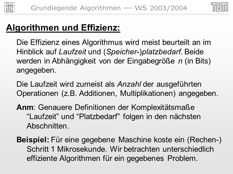 Algorithmen und Effizienz: Die Effizienz eines Algorithmus wird meist beurteilt anim Hinblick auf Laufzeit und (Speicher-)platzbedarf.