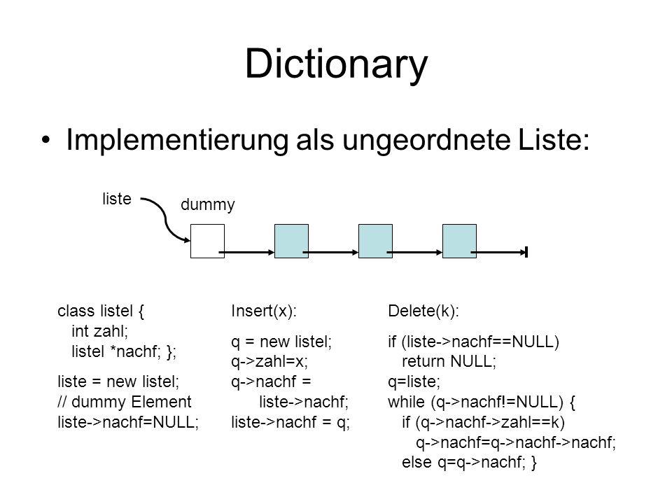 Dictionary Implementierung als ungeordnete Liste: liste class listel { int zahl; listel *nachf; }; liste = new listel; // dummy Element liste->nachf=N
