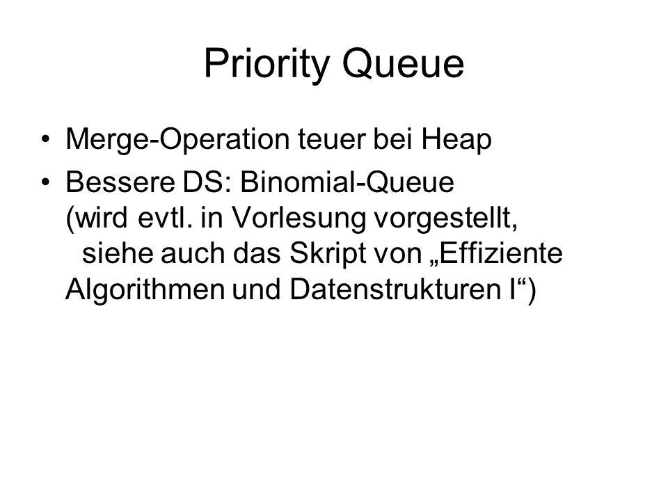 Priority Queue Merge-Operation teuer bei Heap Bessere DS: Binomial-Queue (wird evtl. in Vorlesung vorgestellt, siehe auch das Skript von Effiziente Al