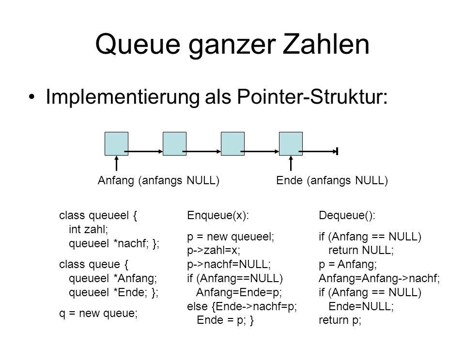 Queue ganzer Zahlen Implementierung als Pointer-Struktur: Anfang (anfangs NULL)Ende (anfangs NULL) class queueel { int zahl; queueel *nachf; }; class