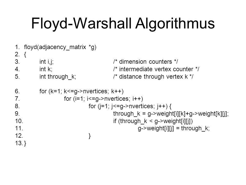 Floyd-Warshall Algorithmus 1.floyd(adjacency_matrix *g) 2.{ 3.int i,j;/* dimension counters */ 4.int k;/* intermediate vertex counter */ 5.int through
