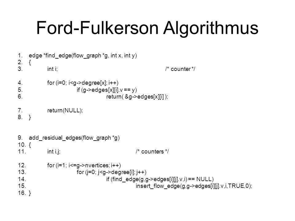 Ford-Fulkerson Algorithmus 1.edge *find_edge(flow_graph *g, int x, int y) 2.{ 3.int i;/* counter */ 4.for (i=0; i degree[x]; i++) 5.if (g->edges[x][i]