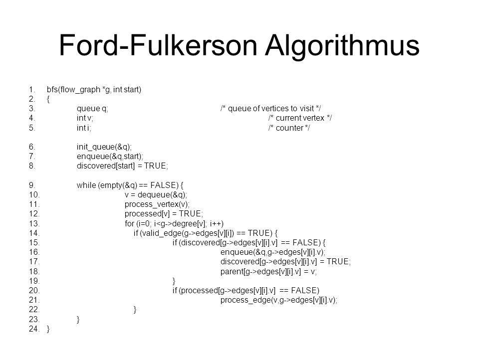 Ford-Fulkerson Algorithmus 1.bfs(flow_graph *g, int start) 2.{ 3.queue q;/* queue of vertices to visit */ 4.int v;/* current vertex */ 5.int i;/* coun