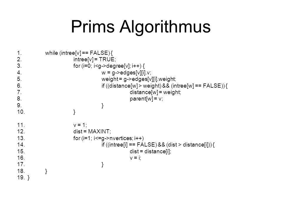 Floyd-Warshall Algorithmus 1.print_graph(adjacency_matrix *g) 2.{ 3.int i,j;/* counters */ 4.for (i=1; i nvertices; i++) { 5.printf( %d: ,i); 6.for (j=1; j nvertices; j++) 7.if (g->weight[i][j] < MAXINT) 8.printf( %d ,j); 9.printf( \n ); 10.} 11.} 12.print_adjacency_matrix(adjacency_matrix *g) 13.{ 14.