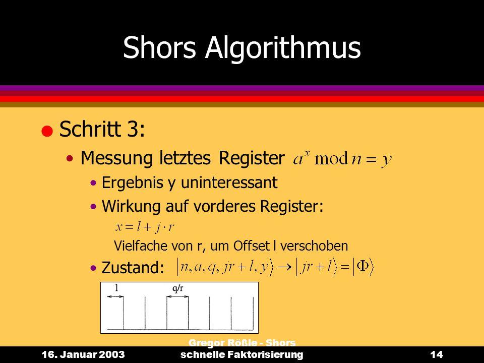 16. Januar 2003 Gregor Rößle - Shors schnelle Faktorisierung14 Shors Algorithmus l Schritt 3: Messung letztes Register Ergebnis y uninteressant Wirkun