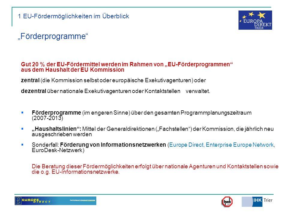 1 EU-Fördermöglichkeiten im Überblick Förderprogramme Gut 20 % der EU-Fördermittel werden im Rahmen von EU-Förderprogrammen aus dem Haushalt der EU Ko
