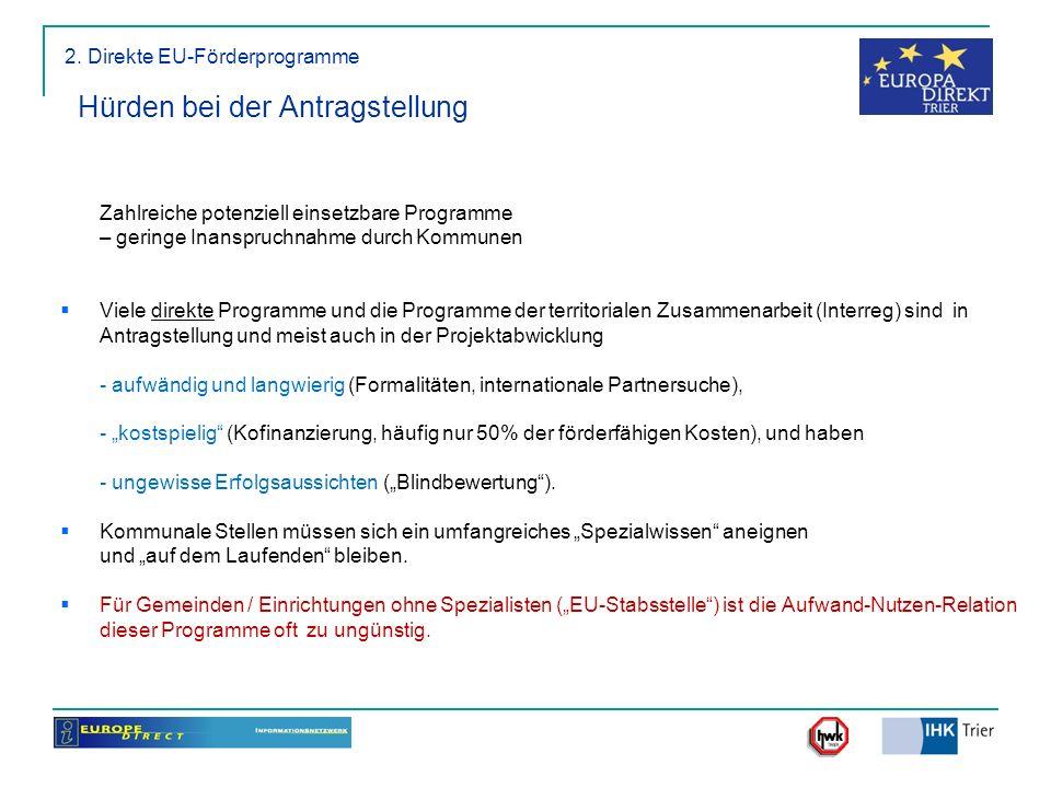 2. Direkte EU-Förderprogramme Hürden bei der Antragstellung Zahlreiche potenziell einsetzbare Programme – geringe Inanspruchnahme durch Kommunen Viele