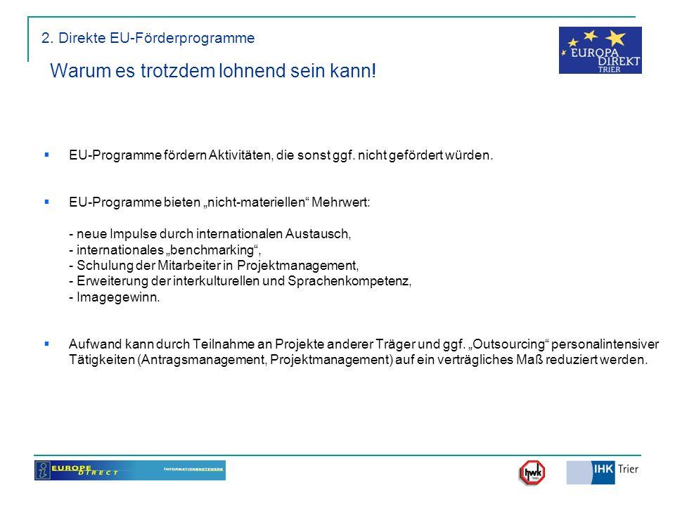2. Direkte EU-Förderprogramme Warum es trotzdem lohnend sein kann! EU-Programme fördern Aktivitäten, die sonst ggf. nicht gefördert würden. EU-Program